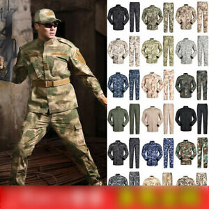 Men Tactical Combat Uniform Sets Camo Army Coat Pants Military Suits ACU Soldier