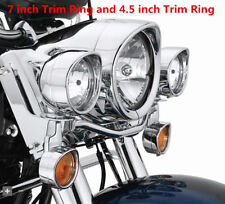 "For Harley-Davidson Visor Style Passing Lamp 7""Headlamp Trim Ring Softail Fatboy"