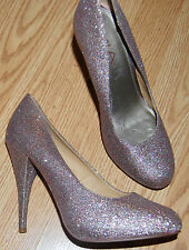 "MIA Blush Multi sparkle platform 4.5"" high heels dance shoes Pumps 8.5 GLEE HOT!"