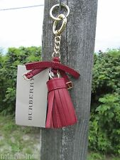 NEW BURBERRY keychain Bette Military Red tassel leather ITALY $235 bow dust bag