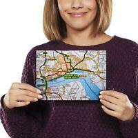 A5 - Kingston Upon Hull Yorkshire Travel UK Map Print 21x14.8cm 280gsm #45474