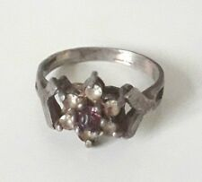 Vintage antique 925 sterling silver & amethyst ring size P