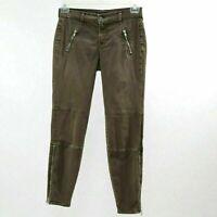 J Brand Skinny Jeans Agnes Pants W27 L28 Olive Stretch Twill Brown Ankle Zipper
