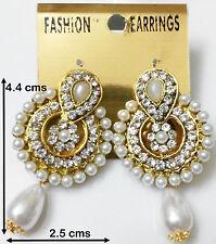 Pearl Ladies Girl Stud Earring Jewelry Round Sun Cubic Zircon 24K 22k Goldplated