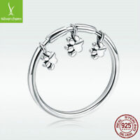 Authentic 925 Sterling Silver Finger Ring with Footprint Charm Jewelry Size 6-8
