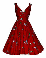 Vintage 50's Style Red Bird Flared Rockabilly Bridesmaid Tea Dress New 10 - 20