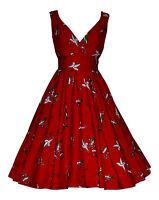 Vintage 50's Style Red Bird Flared Rockabilly Bridesmaid Tea Dress New 10 - 20