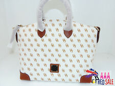 NWT New Dooney & Bourke Handbag Satchel Bag White / Tan Color Purse
