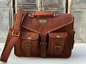 Men's Shoulder Flap Over Briefcase Bag Laptop Satchel 18 Inch Leather Messenger