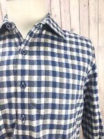 Robert Graham Tailored Fit Blue Check Men's Long Sleeves Shirt Size Large