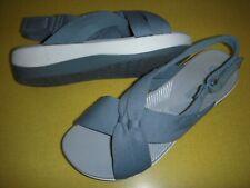 Clarks Arla Belle CloudSteppers Jersey Slingback Sandals Women's 9 W Blue Grey