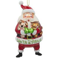 Santa with Puppy and Kitten Blown Glass Christmas Ornament 5.5 Inches