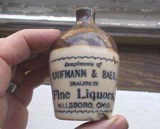 HILLSBORO,OHIO KAUFMANN & BAER FINE LIQUORS 1890s STONEWARE MINI JUG (no handle)