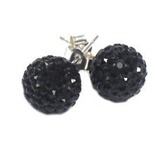 Black Shamballa Inspired Crystal Ball Sterling Silver Stud Earrings 12mm