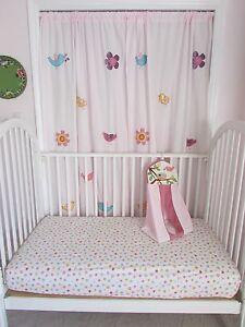 Kidsline Birdsong Curtains, Diaper Stacker & Crib Sheet, Flowers , Birds