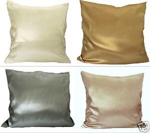 Kissen Kissenbezug Satin Glanzsatin Polyestersatin Größe 40x40 cm  vier Farben
