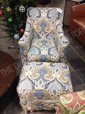 Grandinroad Ann Rocker Rocking Chair Swivel w/ ottoman Latika Delta blue Nursery