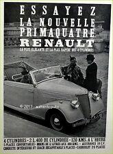 PUBLICITE AUTOMOBILE RENAULT PRIMAQUATRE CABRIOLET COACH DE 1937 FRENCH AD PUB