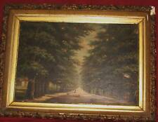 Antique English or  American  Oil Painting Tree Lined Lane Garden or Park