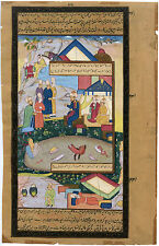 ISLAMIC INDO-PERSIAN ORIGINAL HAND-MADE PAINTING ON PAPER MINIATURE MANUSCRIPT