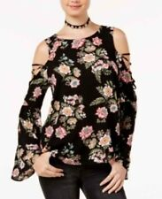 NWT L Hippie Rose Black Floral Printed Bell-Sleeve Cold-Shoulder Top Blouse New