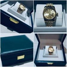 LUXURY HIGH QUALITY GOLD WATCH GREEN BOX DATE CALENDAR STAINLESS STEEL BIG BOX