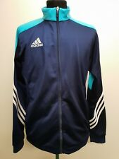"""I818 MENS ADIDAS SHINY BLUE STRIPED SLEEVE FITTED ZIP UP TRACKSUIT JACKET M 38"""""""