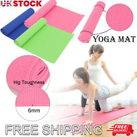 Yoga Mat Gym Exercise Thick Fitness Physio Pilates Soft Mats Non Slip Carrier UK