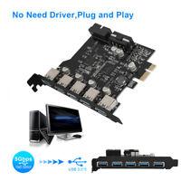 5 Port 19PIN USB 3.0 HUB to PCI-e PCI Express Card Expansion Adapter for Desktop