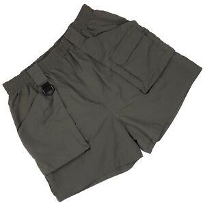 Bill Blass Swim Trunks Medium Green Nylon Cargo Pockets Zipper Drawstring Mens M