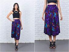 Vintage 80s Purple Retro Skirt Pleated Paisley Floral Leaf Print Medium Large