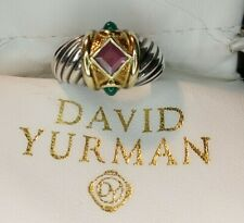 David Yurman Vintage Ring Twisted Cable w/ Color Stones Sterling & 18k Gold