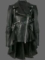 Ladies Women's Genuine Lambskin Leather Peplum Waist Designer Biker Jacket
