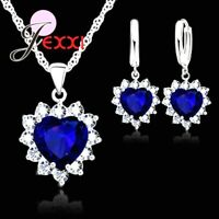 925 Sterling Silver Dark Navy Blue CZ Heart Crystal Necklace And Earring Set UK