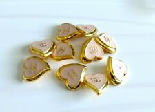 """8 STAMPED CHANEL STEEL HEARTS BUTTONS PINK GOLD CC 21.5 mm, 0.84"""" lot of 8"""