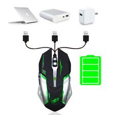 Black 2400DPI Adjustable LED Backlit Wireless PC Mice USB Optical Gaming Mouse