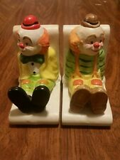 Lefton china Hand-Painted Clown Bookends, Vintage