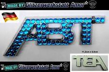 Auto KFZ Schriftzug Abzeichen Chrom *Zirkonblau Strass >Unikat by Amor* Hot C.17