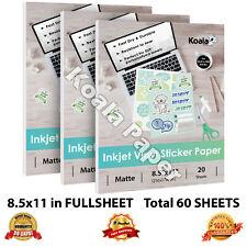 Koala 60 Sheets 8.5x11 Matte Inkjet Printable Vinyl Sticker Paper Waterproof Car