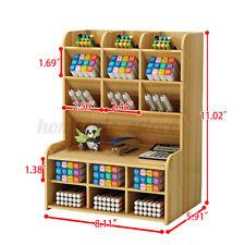Wooden Organizer Rack Shelf Desk Pen Makeup Brush Holder Storage Case Pencil Box