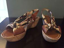 Via Spiga Womens Vida Scarf Cork Wedge Sandals Size 10 Medium NEW In Box