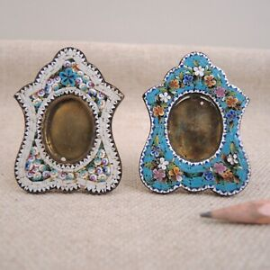 2 Antique Micro Mosaic Italian Photo Frame Small Mini Picture Floral Easel Back