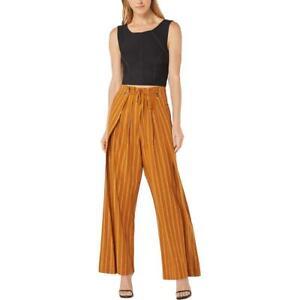 BCBG Max Azria Women's Linen Blend Striped High Waisted Wide Leg Pleated Pants