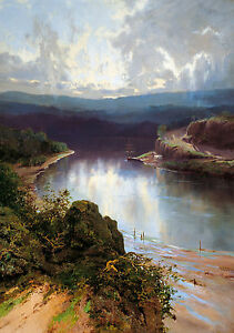 W C Piguenit - An Australian fjord, 1881 Art Poster, Museum Canvas Print
