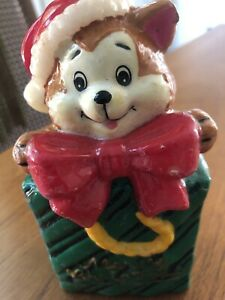 "vintage wax bear in gift bag red bow tie Merry Christmas 5"" candle NEW unburned"