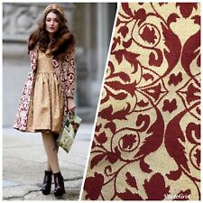 Designer Brocade Bohemian Upholstery Fabric - Color: Red & Flax- By The Yard