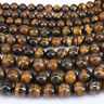 """15"""" Natural Yellow Tiger Eye Gemstone Loose Spacer Beads Jewelry Findings 4-10MM"""
