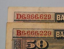 50 PESETAS 1928 LOT 2 BANKNOTES SPAIN NUMERO DEL DIABLO DEVIL'S NUMBER