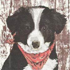 PAPER NAPKONS BOY/&DOG USA SERVIETTES EN PAPIER GARCON CHIEN VINTAGE ROCKWELL