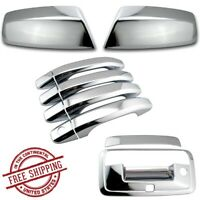 For 2014-2018 Chevy Silverado Chrome Top Mirror 4Dr Handle Tailgate Cam Covers
